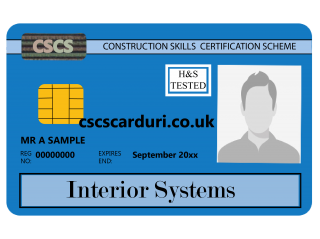 NVQ Level 2 CSCS Albastru - Card Albastru CSCS Interior Systems - Carduri CSCS UK