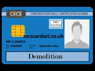 NVQ Level 2 CSCS Albastru - Card Albastru CSCS Demolition (Demolări) - Carduri CSCS UK