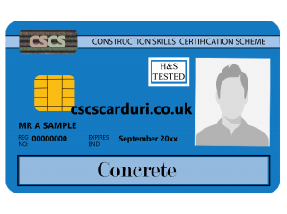NVQ Level 2 CSCS Albastru - Card Albastru CSCS Concrete (Beton) - Carduri CSCS UK