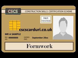 NVQ Level 3 CSCS Auriu - Card Auriu CSCS Formwork (Dulgher) - Carduri CSCS UK