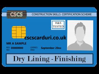 NVQ Level 2 CSCS Albastru - Card Albastru CSCS Dry Lining Finishing (Regipsar) - Carduri CSCS UK